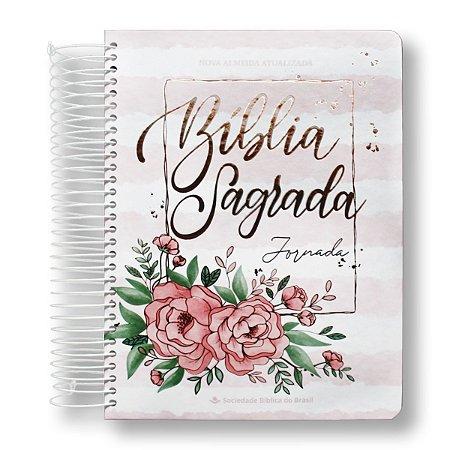 BÍBLIA NA083JR JORNADA AQUARELA ROSA LETRA MAIOR - MARGEM PARA ANOTAÇÕES, DESENHOS - CAPA DURA ESPIRAL