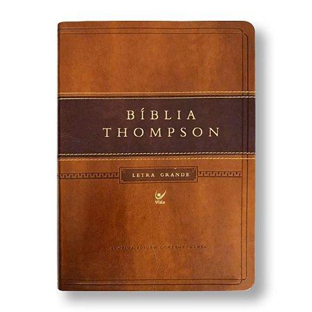 BÍBLIA THOMPSON LETRA GRANDE MARROM CLARO / ESCURO