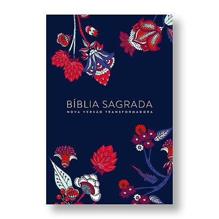 BÍBLIA NVT LN LETRA NORMAL - INDIAN FLOWERS - AZUL MARINHO