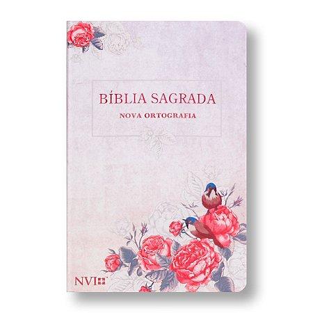 BÍBLIA NVI GIGANTE - CAPA SEMI-LUXO - ROSAS E PÁSSAROS
