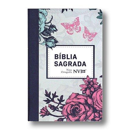 BÍBLIA NVI NOVA ORTOGRAFIA SEMI-LUXO LETRA NORMAL LILÁS FLORAL