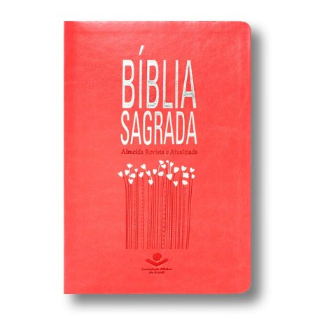 BÍBLIA RA65 SLIM CAPA PÊSSEGO BORDAS PRATEADAS