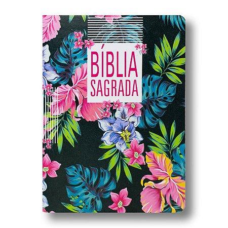 BÍBLIA NA85 SLIM ULTRAFINA CAPA FLORAL / PRETA