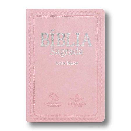 BÍBLIA NA045LM LETRA MAIOR ROSA CLARO