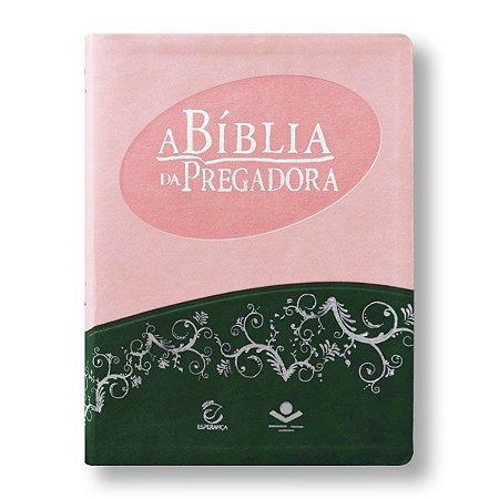 BÍBLIA DA PREGADORA RA085 CAPA ROSA E VERDE