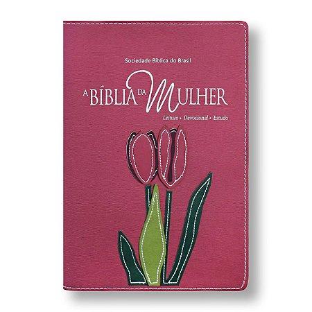 BÍBLIA DA MULHER RA085BMRA2 GOIABA FLOR APLICADA / BEIRAS FLORIDAS