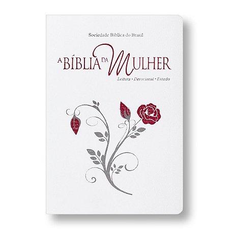 BÍBLIA DA MULHER RA087BMRAM BRANCA COM BEIRAS FLORIDAS