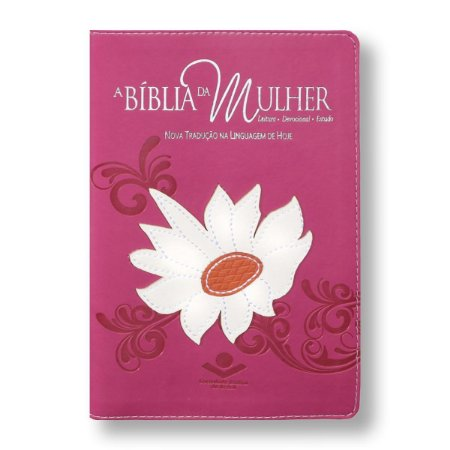 BÍBLIA DA MULHER NTLH065TIBM - ROSA ESCURO COM MARGARIDA COSTURADA
