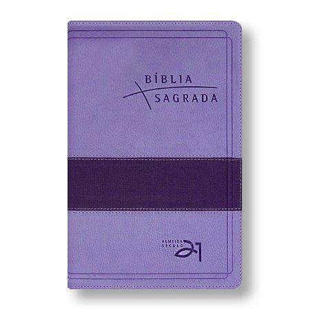 BÍBLIA ALMEIDA 21 LUXO REFERÊNCIAS CRUZADAS - LILÁS E ROXO