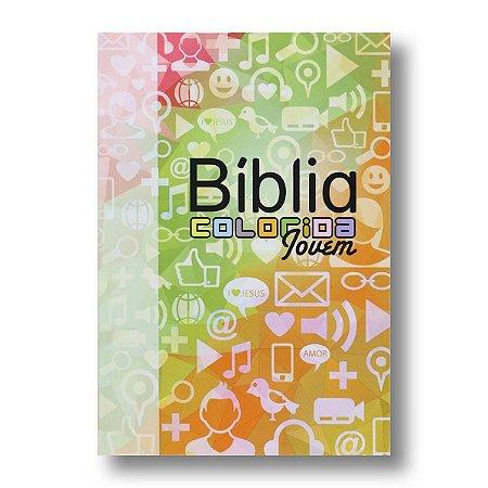 BÍBLIA COLORIDA JOVEM CAPA BROCHURA REDES SOCIAIS