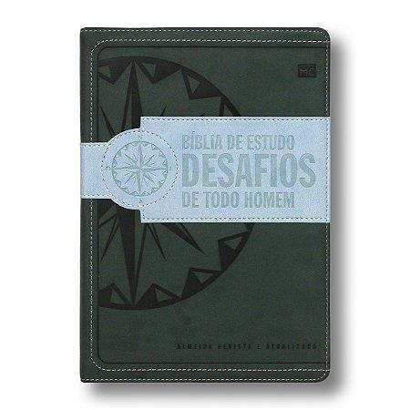 BÍBLIA DE ESTUDO DESAFIOS DE TODO HOMEM CAPA VERDE