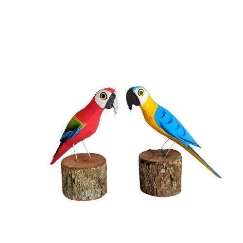 Pássaro de Madeira - Arara Azul e Vermelha
