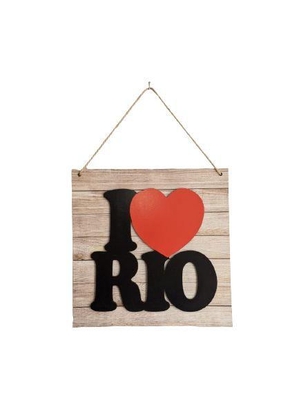 Placa I love Rio MDF com corda