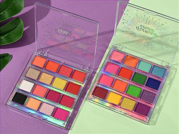 Paleta de Sombra Glamour Color 16 Cores Mylife