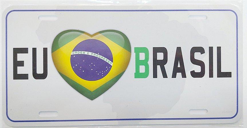 Placa Eu amo Brasil