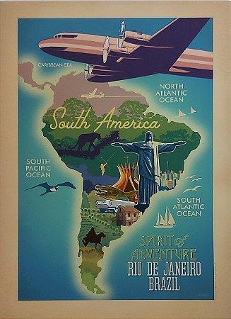 Placa decorativa América do Sul