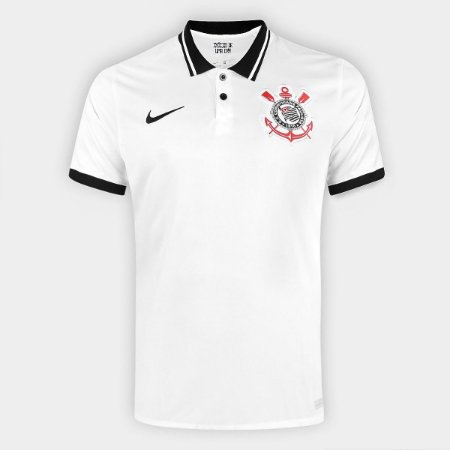 Camisa Corinthians I 20/21 s/n° Torcedor Nike Masculina - Branco e Preto