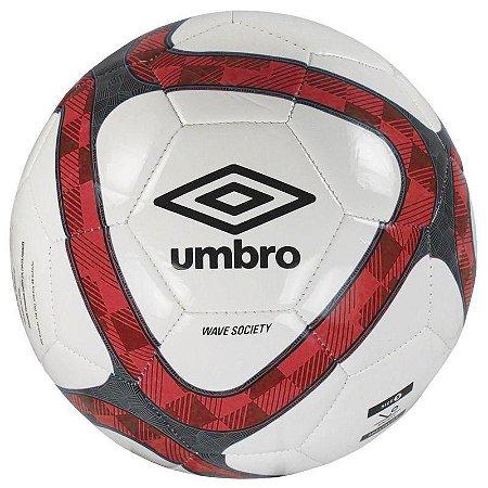 Bola Futebol Society Umbro Wave Branca e Vermelha