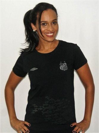 Camisa Santos Feminina Algodão Umbro Peixes Preta