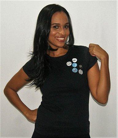 Camisa Santos Feminia Algodão Umbro Preta