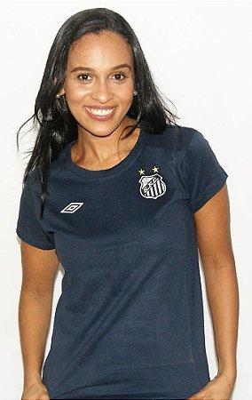 Camisa Santos Umbro Feminina Escudo Algodão Azul Marinho