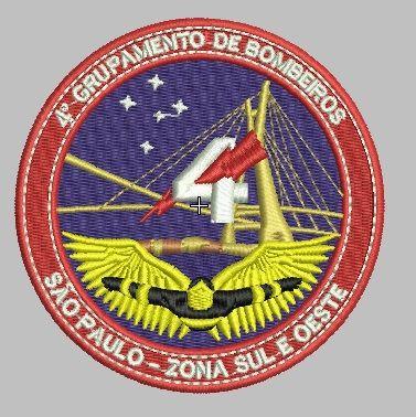 BRASÃO 4 GRUPAMENTO DE BOMBEIROS SÃO PAULO ZONA SUL E (BORDADO MILITAR) OESTE