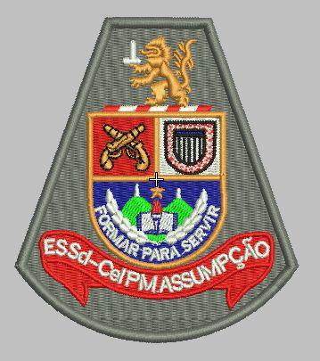BRASÃO ESCOLA DE SOLDADO (ESSD CEL PM ASSUMPÇÃO) POLÍCIA MILITAR (BORDADO MILITAR)