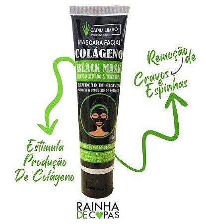 Máscara Facial Colágeno Black Mask ( Carvão Ativado & Turmalina ) - Capim Limão