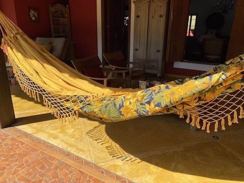 Rede de descanso Amarelo com Chita Azul Marinho