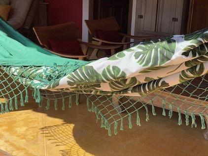 Rede de descanso Verde em chita floral