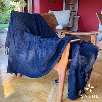 Manta para Sofá Azul Marinho Chenille