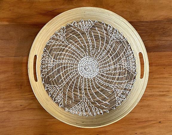 Bandeja de bambu com fibra natural f379