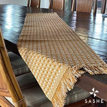 Caminho de mesa Amarelo e Crú em algodão