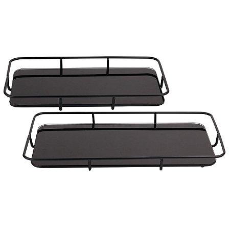 Conjunto de bandejas de vidro preto com metal preto 2 peças