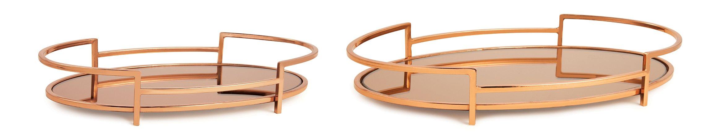 Bandeja Dourada em Metal com Espelho Cobre