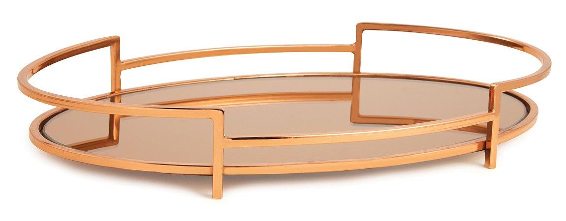 Bandeja Dourada em Metal com Espelho Cobre G