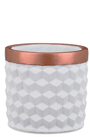 Cachepot Branco e Bronze em cimento P
