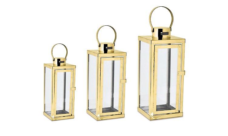 Kit Lanterna Dourada em Vidro