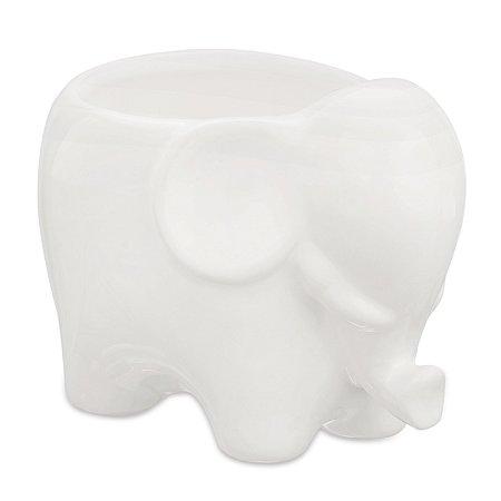 Cachepot Elefante Branco em Ceramica