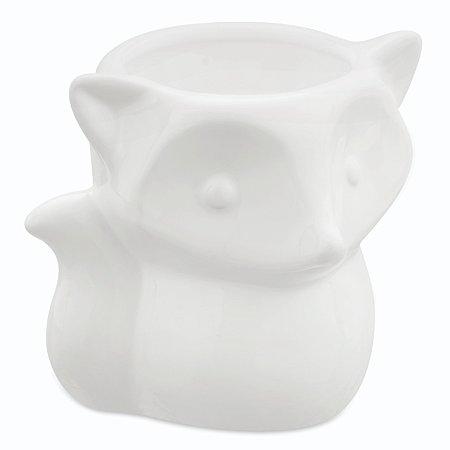 Cachepot Raposa Branca em ceramica