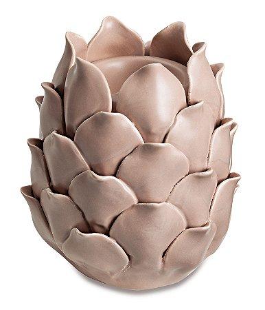 Porta Vela Rosa em ceramica