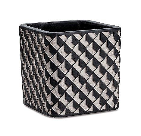 Cachepot Quadrado cimento e preto