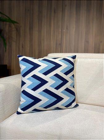 Almofada Azul de tricô
