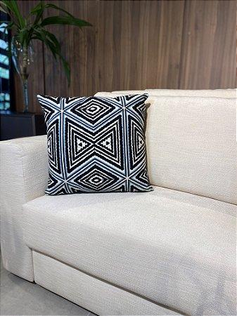 Almofada decorativa preta e azul