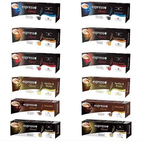 Kit 120 capsulas de café sortidas compatível Nespresso