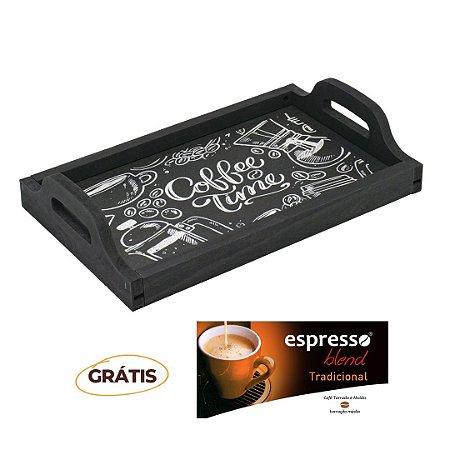 Bandeja Multiuso rústica Giz + grátis 1 cx c/10 cápsulas de café Tradicional
