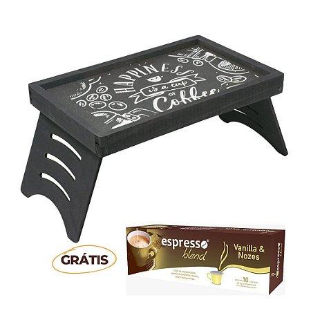 Mesa Multiuso Rústica Giz + grátis 1 cx c/10 cápsulas de café sabor vanila e nozes