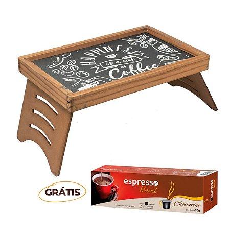 Mesa de Café  Rústica Giz Marrom + grátis 1 cx c/10 cápsulas de chococcino