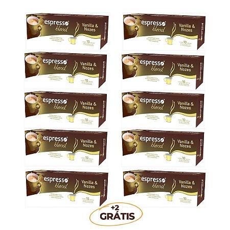 Kit 100 cápsulas de café aroma Vanila com nozes + 20 grátis  compatível Nespresso