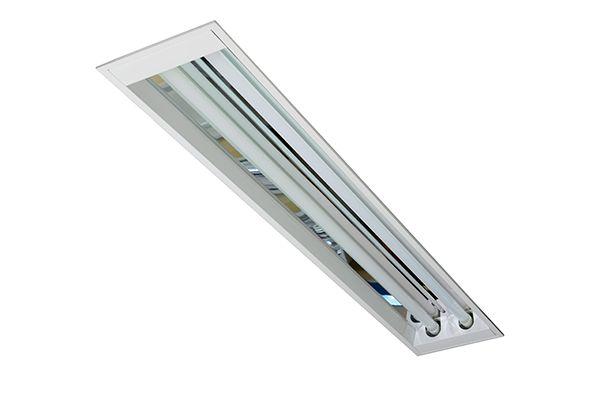Luminária Comercial Sem Aletas C/ Refletor em Alumínio Alto Rendimento de Embutir para Lâmpada Led T8 2x18W 20W